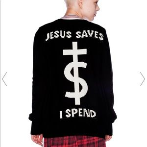 🙏🏻UNIF Cardigan Jesus saves, I spend. Size small